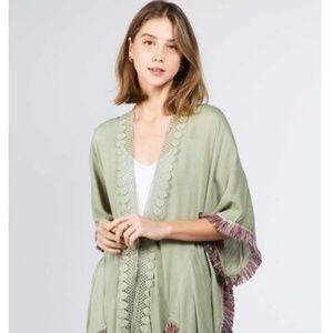 Sweaters - 🔥FASHION STYLISH SOLID OLIVE KIMONO WITH TASSELS